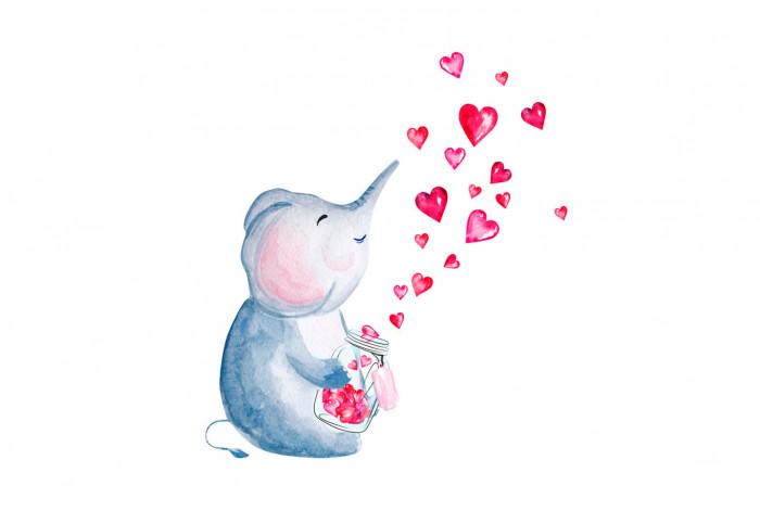 Картина Слоник с сердечками
